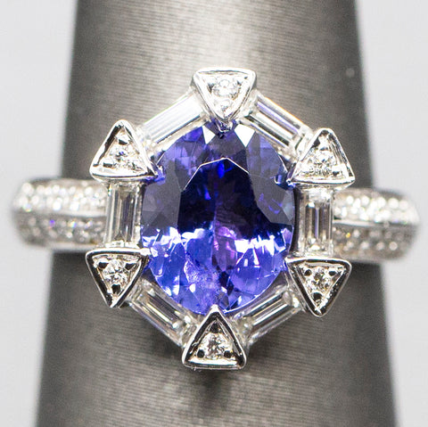 Luxe 2.87ctw Natural Tanzanite and Diamond Ring in 14k White Gold