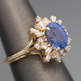 Velvet Cornflower Blue Sapphire and Diamond Spray Cocktail Ring in 14k Yellow Gold