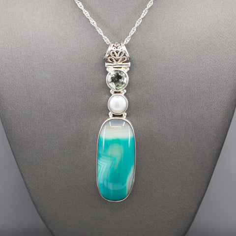 Green Amethyst Pearl and Dyed Agate Long Necklace in Sterling Silver