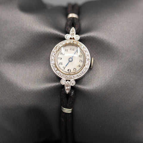 Vintage Platinum and Diamond Round Watch with Cord Bracelet