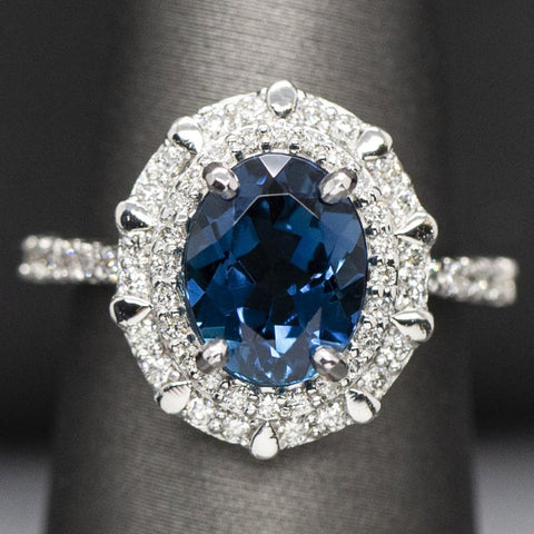 Blue Tourmaline Indicolite Diamond Engagement Ring