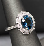 Indicolite Blue Tourmaline Diamond Cocktail Ring