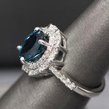 Pave Diamond Halo Engagement Ring