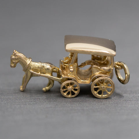 Horse Drawn Carriage with Rider Charm Pendant in 18k Yellow Gold