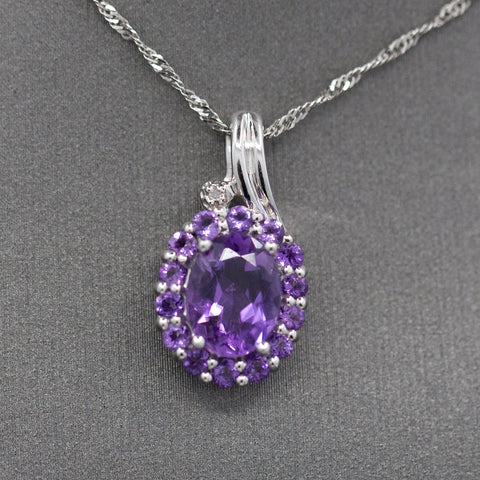Amethyst and Diamond Accent Cluster Pendant Necklace in 10k White Gold