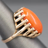 Modernist Coral Ring in 14k Yellow Gold
