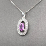 Precious Pink Sapphire and Diamond Necklace in 14k White Gold