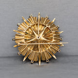 Mid-Century Modern Blue Star Sapphire and Sapphire Pendant Brooch in 14k Yellow Gold