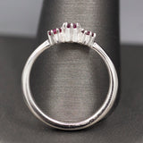 Petite Natural Red Ruby Three Stone Ring in Platinum