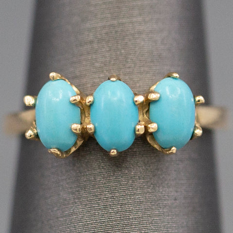Vintage Turquoise Three Stone Ring in 14k Yellow Gold