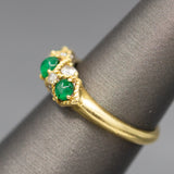 Verdant Emerald Cabochon and Diamond Band Ring in 18k Yellow Gold