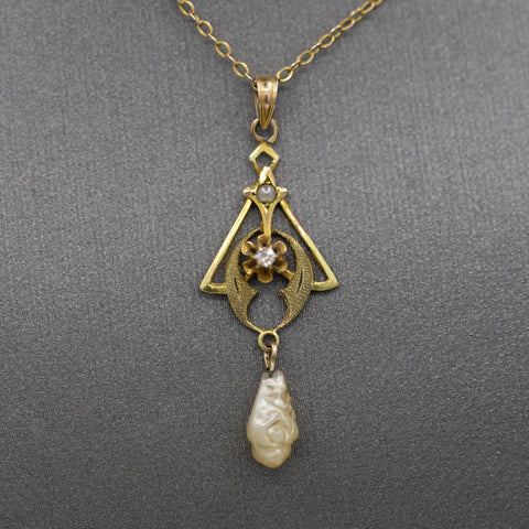 Sweet Victorian Pearl and Diamond Lavalier Necklace in 10k Yellow Gold