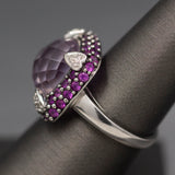 Gorgeous Checkerboard Faceted Amethyst with Pink Sapphire and Diamond Cocktail Ring in 14k White Gold