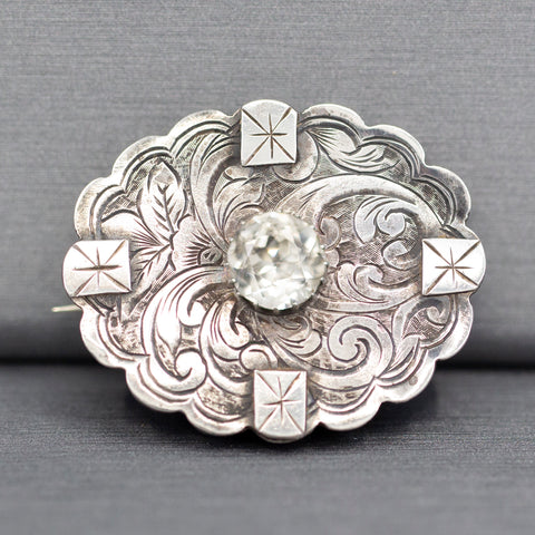 1885 Victorian English Silver and Paste Engraved Brooch Pin
