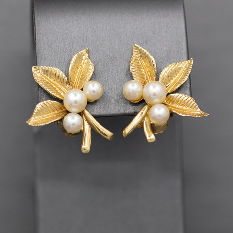 Fanciful Akoya Cultured Pearl Clip On Earrings with Leaves in 14k Yellow Gold
