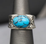 Handmade Turquoise Mountain Sterling Silver Bold Band Ring