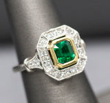 Handcrafted 1.25ctw GIA Certified Natural Emerald and Diamond Ring in 18k