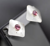 Vintage Amethyst and Sterling Silver Artisan Modernist Earrings