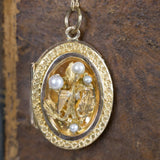 Antique Victorian Italian Bird and Pearl Locket Pendant 14k Yellow Gold