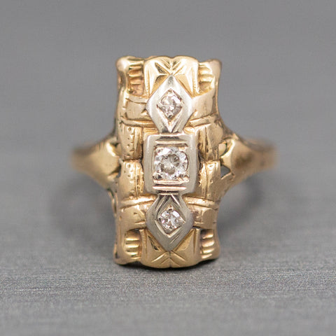 Art Deco Diamond Three Stone Ring in 14k Yellow Gold