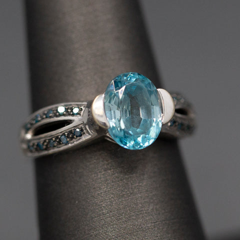 Blue Topaz and Blue Diamond Ring in 14k White Gold