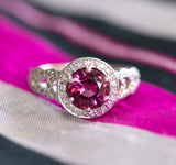 Handcrafted 2.13ctw Striking Pink Tourmaline and Diamond Ring 14k