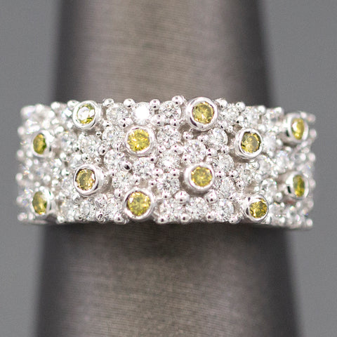 Brilliant 1.00ctw Yellow Diamond and White Diamond Band Ring in 14k White Gold