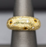 Orange Yellow Sapphire and Diamond Engraved Domed Band Ring in 18k
