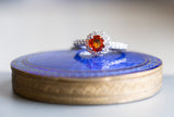 Natural Orange Sapphire and Diamond 14k Halo Ring Size 6.75