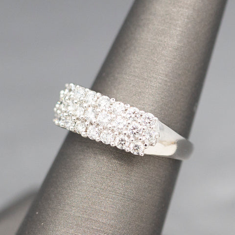 Exquisite Mid-Century Opal and Diamond Cocktail Ring in 14k White Gold