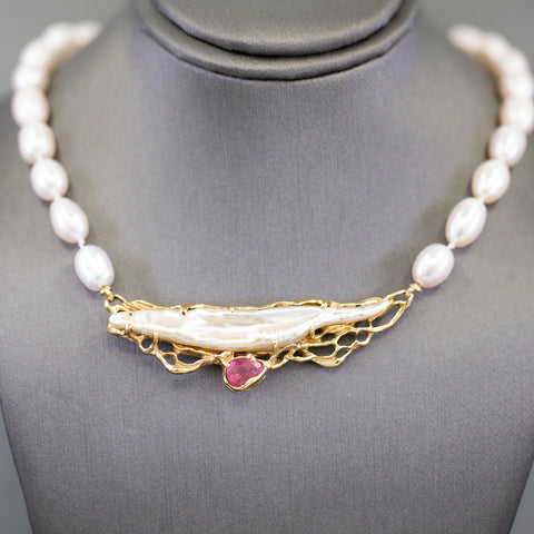 Pink Pearl and Freshwater Pearl with Pink Tourmaline Necklace in 14k Yellow Gold