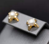 Upcycled Bold Geometric Akoya Pearl Stud Earrings in 14k Yellow Gold