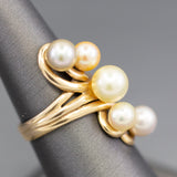 Natural Colors of Pearl Cocktail Ring in 14k Yellow Gold