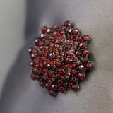 Antique Bohemian Garnet Domed Brooch Pin in Sterling Silver