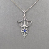 Art Nouveau Inspired Sapphire Pendant Necklace in 14k White Gold 18""