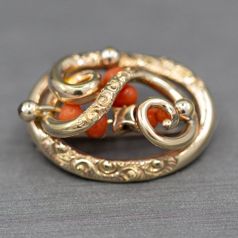 Victorian Coral and Engraved Brooch in 14k Yellow Gold