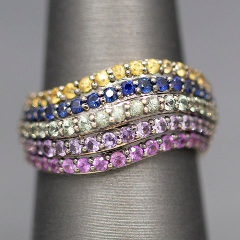 Le Vian Sapphire Multi Color Wave Band Ring in 14k Yellow Gold