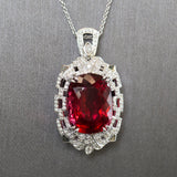 22ct Royal Rubellite Red Tourmaline and Diamond Necklace in 18k White Gold
