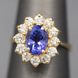 Stunning Tanzanite and Diamond Ring in 14k Yellow Gold