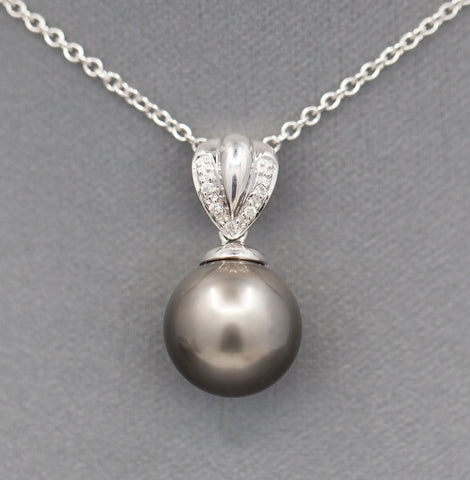 12mm Gray Tahitian Pearl and Diamond Accent Pendant Necklace in 14k White Gold