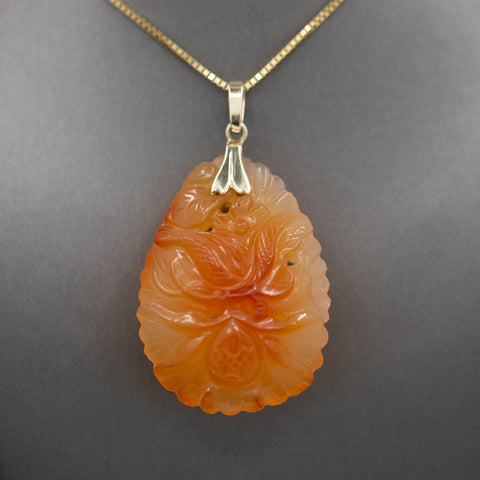 Vintage Carved Red Orange Jadeite Pendant 14k Yellow Gold