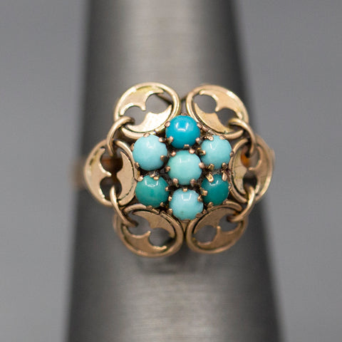 Victorian Turquoise Architectural Cocktail Ring in 14k Rose Gold