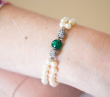 Unique Vintage Akoya Pearl Double Bracelet with Diamond & Chrysoprase 14k White Gold