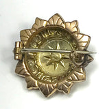 Victorian Italian Yellow and Rose 10k Gold Flower Small Pin Brooch