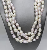 Vintage Ringed Pink Lavender and White Pearl and Sterling Silver Necklace 62""