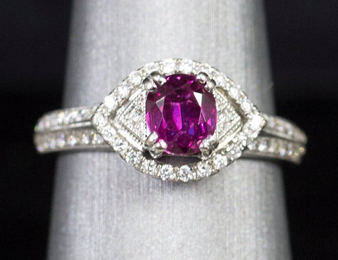 1.76ctw Natural Purple Sapphire Ruby & Diamond Ring 18k