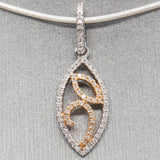 Dainty 0.11ctw Diamond Pendant Necklace in 14k White & Rose Gold