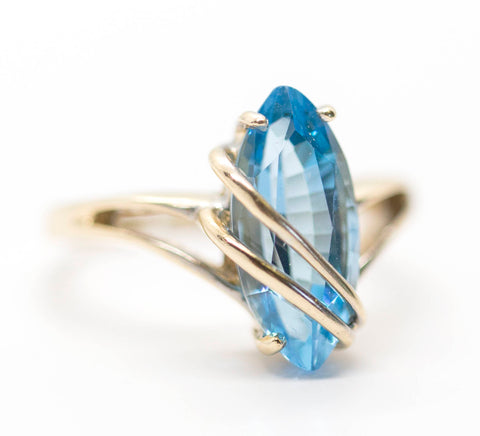 Vintage 2.5ct Blue Topaz Yellow Gold Wrap Around Ring 14k Size 6.5