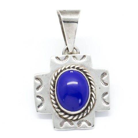 Southwestern Blue Lapis and Sterling Silver Cross Pendant from Mexico