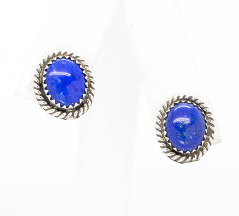 Southwestern Blue Lapis and Sterling Silver Earrings with Twisted Rope Detailing